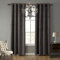 Wholesale Solid Blackout Gray Color Curtain with ring for living room kids room windows