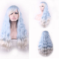 Wholesale Dream like princess style ombre color blue with white blonde wavy cosplay synthetic u part hair wigs for women