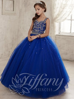 Wholesale 2016 New Royal Blue Girls Pageant Dresses Sweetheart Crystal Beaded Ball Gown Long Corset Kids Flower Girls Dress Birthday Communion Gowns
