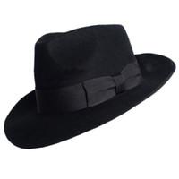 australian hats - New Woolen Hat Australian Wool Michael Jackson Concert Dance Fedoras Classic Black Wide Brim Jazz Gentleman Hats