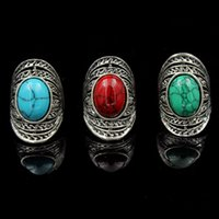 Cheap Vintage Gold Plated Bohemian Oval Gemstone Ring with Olive Blue Black Red Blue Green Stone engagement Rings Free Shipping