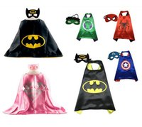 batman double - 70 CM Double Side Kids Superhero Capes with Masks Batman Spiderman Ninja Turtles Captain America for Kids Halloween Gift