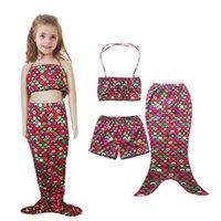 Wholesale Kids Girls New Mermaid swimsuit bikini pieces set mermaid tails for swimming retail set