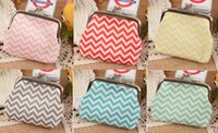 Wholesale 100PCS Chevron wavy lines coin purse Women fashion wave stripe coin purse Faux Leather zero wallet lovely girl coins purse wallet