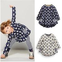 Wholesale New Girls Clothes Set Fashion Cute Cartoon Rabbit Print Pocket Dress Striped Leggings Suite Children Clothing Set