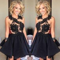 Vestidos de cóctel negro 2016 apliques de encaje cortos Vestidos de Fiesta formal del partido de los vestidos vestidos de baile vestido de la vendimia Vestidos Por debajo de 100