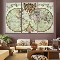 antique map print - 3 Panels Antique Maps HD Canvas Print Painting On Canvas Prints Artwork Modern Home Wall Decor Painting Canvas Picture Unframed