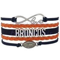 adjustable fan - Custom Infinity Love Denver Broncos Football Bracelet Wax Cords Wrap Braided Leather Adjustable Bracelet For Football Fans Drop Shipping