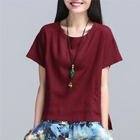 Wholesale Women shirt New Summer new style clothing Women s clothing Linen and cotton Plus size T shirt Short sleeve