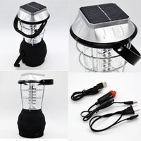 Wholesale 36 LED Power Hand Crank Solar Lantern Bright Rechargeable Outdoor Camping Light