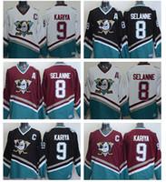 alternate hockey jerseys - 2016 New Anaheim Ducks Paul Kariya Jersey Retro Teemu Selanne Team Alternate White Green Purple Ice Hockey Paul Kariya Throw