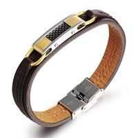 Wholesale Genuine leather bracelet men stainless steel leather men punk bracelet gold black bracelet pulseiras masculina DPH967