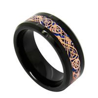 8 mm de fondo color de rosa azul del dragón del oro incrustaciones de joyería de moda anillo del dedo de tungsteno anillo de carburo para los hombres