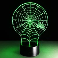 aa web - 2016 Spider Web D Optical Illusion Lamp Night Light DC V USB AA Battery Dropshipping Retail Box