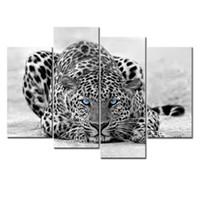 al por mayor white canvas art-Pintura Negro Blanco 4 Panel de pared del arte del tigre observado azul impresiones en lona La Fotos de aceite para la decoración casera moderna
