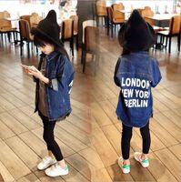 Wholesale New Fashion Girls Boys Denim Jacket Jeans T shirt Blouses Cowboy Coat Kids Frankie Children Top Tee English Letter
