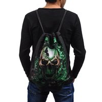 america activities - Casual Travel Bags Europe and America Outdoor Activity Drawstring Backpack D Printing Cotton Shoulder Bags Fashion Sport Skull Gym Sack