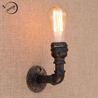 Wholesale Loft Retro iron Water pipe vintage wall lamp bedside with edison led bulb E27 v v lights for restaurant cafe night light