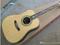 Wholesale Folk Acoustic Guitar with Rounded Corners Flower Pattern Fret Marks Inlay Abalone Binding Can be Customized