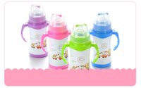 Wholesale 304 Stainless steel infant bottles with straw handles wide diameter double deck baby baby dual vacuum keep warm glass straw cover drink cup