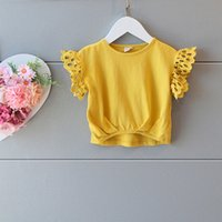 baby girl tees - New Arrival Summer Kids Girls Lace Sleeve Yellow Tees Ruffles Cotton Cute Baby Girls Fashion Tops Fly Sleeve Tees