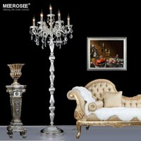 Wholesale Vintage Crystal Floor Lighting fixture Lights Silver Bronze Color Floor Standing lamp Cristal Floor lighting for Living room