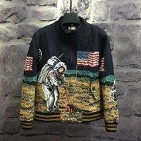 astronaut jacket - 2016 Fashion Autumn Windproof Universe Space Astronauts Historic Moon Landing Walk Baseball Uniform Men Women Jacket Zipper MA1 Jeans Coat
