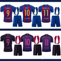 Wholesale DHL Mixed buy Adult soccer jerseys kit home blue away Messi shirt suit ARDA A INIESTA SUAREZ I RAKITIC NEYMAR JR Free socks