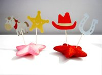 bandana party supplies - western cowboy Cupcake Toppers wedding birthday baby shower Party food picks Horse with bandana Horseshoe Sheriff Badge Hat