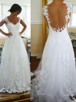 Trumpet/Mermaid Reference Images 2015 Spring Summer Elegant Affordable Wedding Dresses 2016 Sexy A Line Covered See Through Back Appliques Lace Floor Length Best Selling Wedding Dress