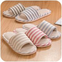 Wholesale Lady hot sale house wear casual Slippers Shoes Summer female Linen Home Slippers striped women indoor breathable flat shoes