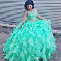 Wholesale 2017 Mint Green Ball Gown Quinceanera Dresses Scoop Neck Crystal Beaded Lace Organza Floor Length Two Pieces Sweet Dresses Prom Dresses