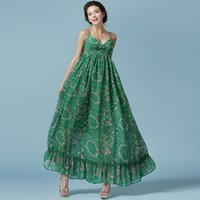 big floor fans - European And American Big Fan Bohemian Chiffon Dress Mopping The Floor Long Oversized Swing Spaghetti Strap Floor Length Dresses