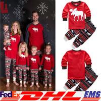 animal nightwear - Christmas Pajama Sets Cotton Kids Baby Boy Girl Xmas Reindeer Sleepwear Nightwear Pajamas Clothes Set Free DHL XL X40
