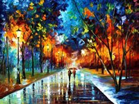 afremov paintings - Leonid Afremov PALETTE KNIFE art home decorative abstract oil painting on canvas Winter Sun x36inch Unframed