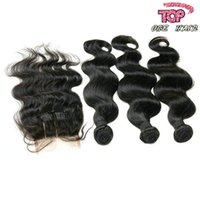 Wholesale A unprocessed brazilian body wave hair bundles with top lace closure brazilian human hair weaving