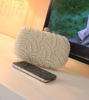 Wholesale In Stocks Wedding Party Bridal Handbags Beads Bride Accessories Evening Bags Sparkly Heavy Pearls Fashion N1302
