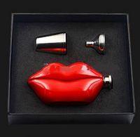 Wholesale 5oz Stainless Steel Red Lips Hip Flask Drinkware Whiskey Liquor Metal Flask Alcohol Flask Flagon Marmita Wiskey