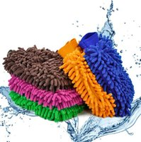 Wholesale For high density double chenille wash mitt coral polyps It will take gloves Clean gloves Color random delivery
