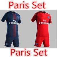 Wholesale 16 Paris home tops PASTORE jersey soccer fashion fans version football set short sleeve summer sport training kits free shippping