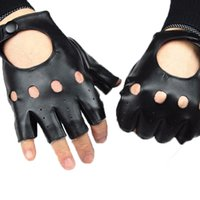 artificial leather material - New fashion Male half finger gloves spring and summer outdoor travel sports riding gloves driving PU leather material