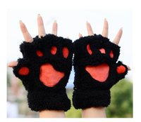 bear paw gloves - Newest Fluffy Bear Cat Plush Paw Claw Glove Novelty Halloween soft toweling lady s half covered gloves mittens pairs