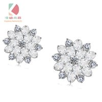 Wholesale lingdong fashion brand snowflake Earrings Pure Sterling Silver Plate AAA Zircon mosaic Earrings For Women Accessories