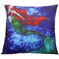 Wholesale 18 quot Cartton Colorful Mermaid Printed Square Cotton Linen Pillow Case Cushion Cover For Sofa Home Car Decor