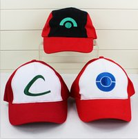 Multicolor bamboo baseball cap - Poke Ash KETCHUM Costume Cosplay Mesh Cap Hat Poke mesh ASH baseball hat for gift