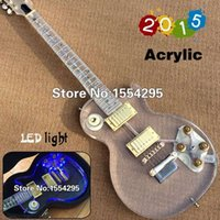 Wholesale Top Factory Custom Acrylic LP Electric guitar Body with LED Transparent Neck Body Fretboard with flower inlay Gold Hardware