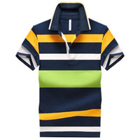 asian striped shirt - 92 Cotton camisa Men Polo Shirt Casual Striped Slim short sleeves ASIAN SIZE M XL