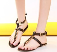 Wholesale 2015 New Fashion Summer Women Flats Belt Sandals T Strap Party Round Toe Post Ladies Casual Metal Decoration Sequined Shoes