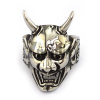 Wholesale 316L Stainless Steel Skull Ring with Two Horns Devil Death Punk Style Rings High Quality