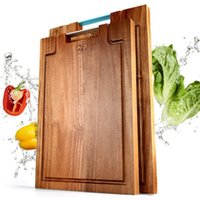 acacia cutting boards - Large Size Acacia Wooden Bread And Fruit Cutting Board Wood Chopping Block Chopping Board With Metal Handle Kitchen Accessories